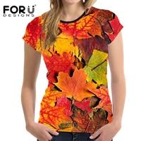 FORUDESIGNS Summer T Shirt Women Casual Shirts 3D Leaf Printing Woman Tops T Shirt Summer Short