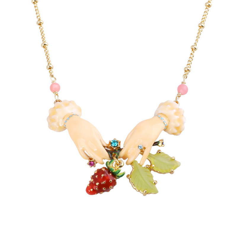 Romantic Strawberry gem pendant necklace for women enamel glaze lovely fruit statement necklaces women party jewelry unique mermaid with shell pendant necklace for women enamel glaze fashion choker necklaces lady party jewelry