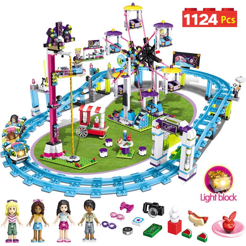 Bricks Compatible with LegoINGLY Blocks Friends Amusement Park Roller Coaster Figure Model Toys Hobbie Children GirlsBricks Compatible with LegoINGLY Blocks Friends Amusement Park Roller Coaster Figure Model Toys Hobbie Children Girls