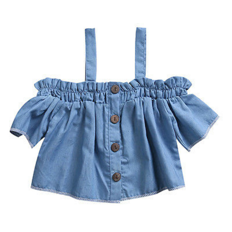 Infant Kids Baby Girls Toddler Casual Denim Jeans Shirts Top Short Sleeve Off Shoudler Button Strapless Blouse Shirt Outfit 0-4Y button up frilled puff sleeve blouse