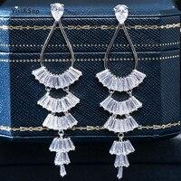 Visisap Inlaid Zircon Fan Ear Drop Long Tassels Fashion Korean Earrings for Women Banquet Jewelry Manufacturer Delivery EH047