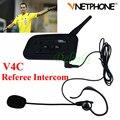 1 UNIDS Fútbol Árbitro V4C 1200 M Full Duplex Bluetooth Headset Intercomunicador Vnetphone Auriculares con FM V4C Árbitro Interfono