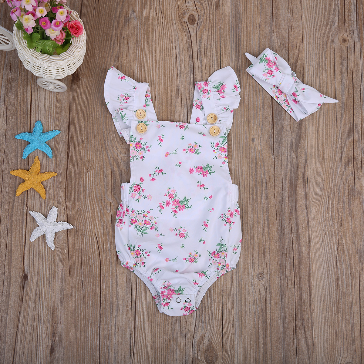 Nice White Small Flower Newborn Toddler Infant Baby Girl   Romper   Jumpsuit Outfit Sunsuit