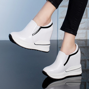2019 Genuine Leather High Heel Lady Casual Shoes Wedges Women Sneakers Leisure Platform Shoes Increasing Slip on Footwear