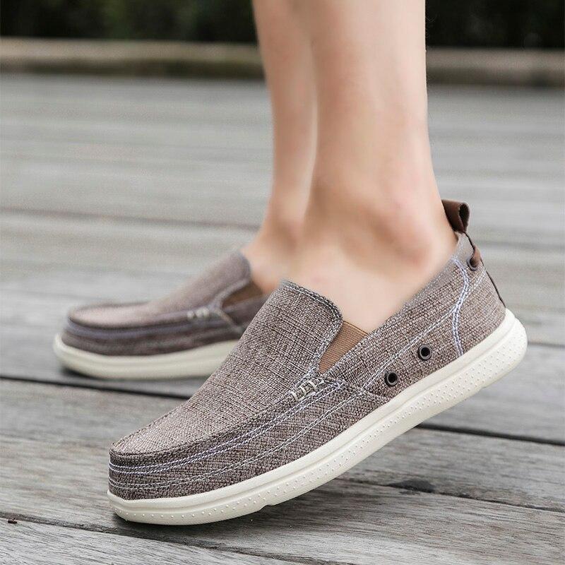 De marron D'été Nouveau Bleu Plus Chaussures Taille gris Solide Casual Lumière 2018 La Confortable Mode Mocassins kaki Toile 5 Hommes qIxawFT