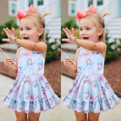 aca468576d3fa New Arrival Little Princess Unicorn Party Dress Toddler Baby Girl Wedding  Party Tutu Dresses Children Summer