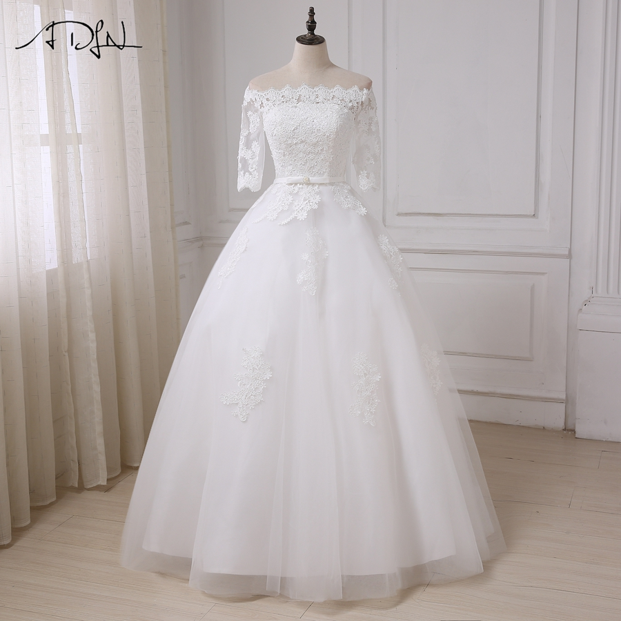 ADLN New Arrival White/ Ivory Wedding Dresses Half Sleeves Applique A-line Wedding Gowns Floor Length Bridal Vestido De Novia