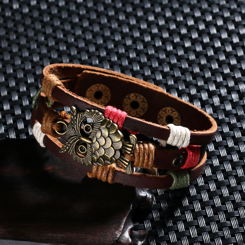 Mens & Womens Leather Owl Bracelet