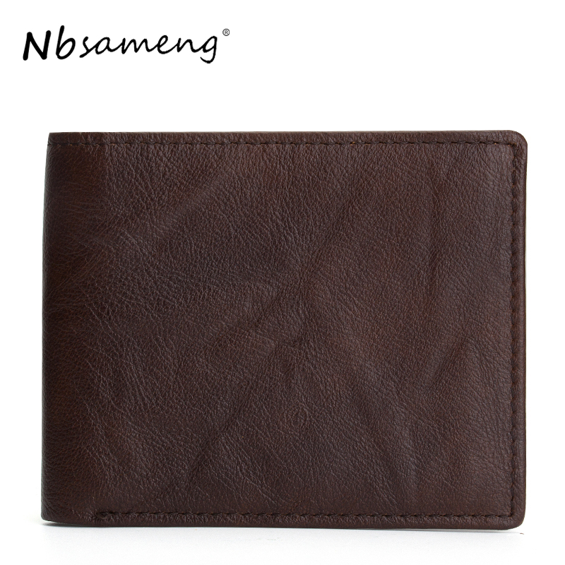 NBSAMENG 2017 New Arrival Men Casual Wallets Genuine Cowhide Leather Short Wallet Coin Pocket Carteira new arrival men wallets 100