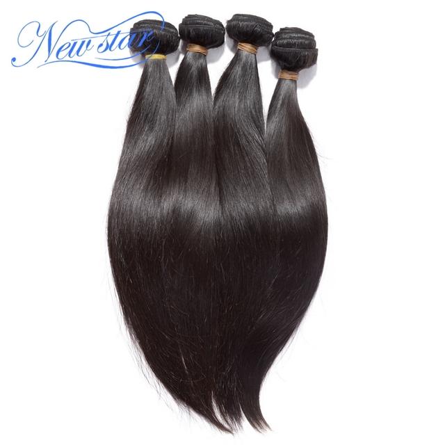 New star cabelo 4 peças/lote bundles máquina trama virgem eurásia extensões de cabelo humano em linha reta com cutícula cor natural