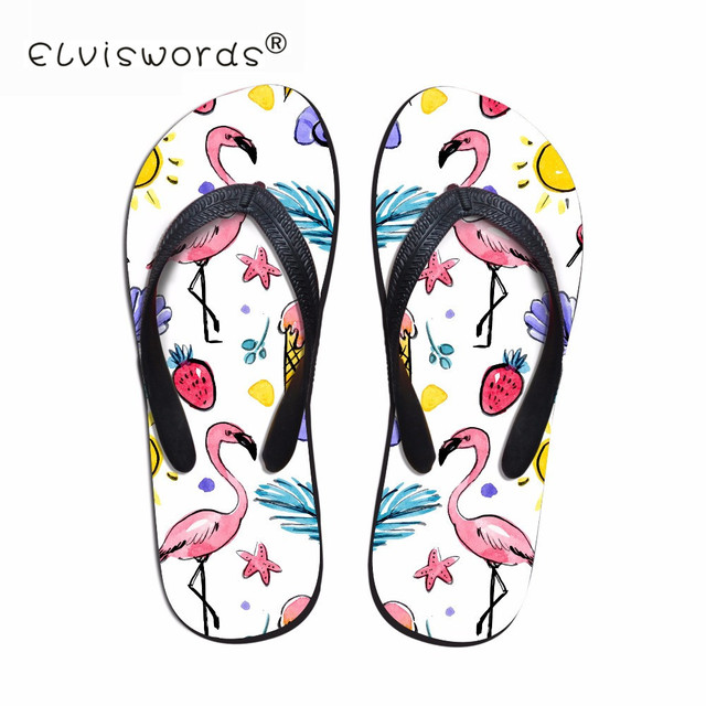 33dec99bd ELVISWORD 2018 Tropical Flamingo Women Flip Flops 3D Fashion Summer Prints  Beach Water Slippers for Woman Girls Lady