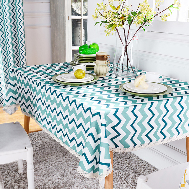 Attractive Modern Striped Yellow Rectangular Table Cloths Cutwork Blue Geometric Table  Covers Elegant Table Overlays Dining Manteles