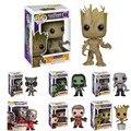 FUNKO POP Guardians Of The Galaxy Brinquedos Figura boneca Dança Senhor Rocket Raccoon Gamora GROOT Marvel Bobble Cabeça Máscara de Estrela a Drax