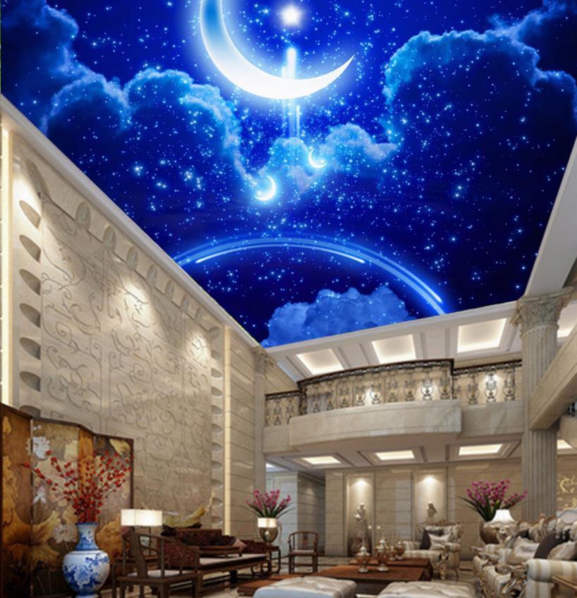 Extra Large Wall Murals Sky Ceiling Wallpaper Star Moon Mural Wallpaper For Wall Nonwovens 3d Ceiling Wallpaper Background Decor murals wall paper modern art top beach deep blue sea water ripples swim dolphins home decor ceiling large wall mural wallpaper