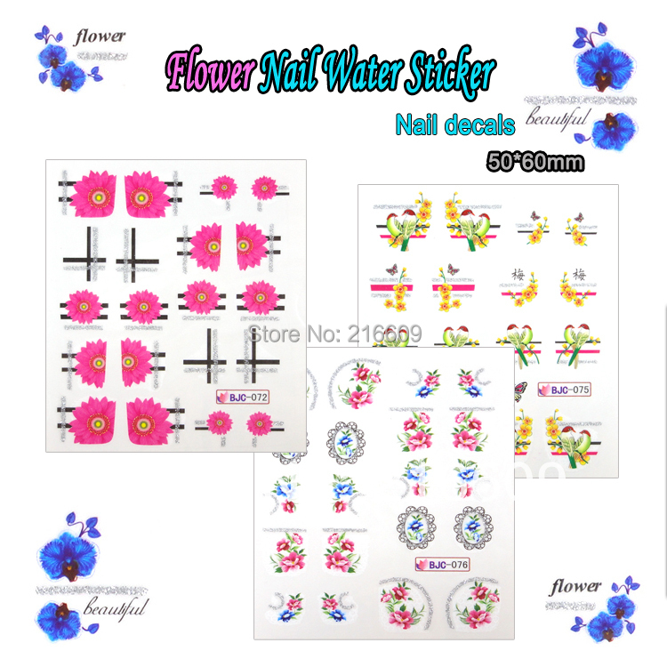 Nail Stikcer 22Sheets/Lot 11 Styles Rural Flower Nail Sticker with 3D Glitter Powder Nail Art Water Transfer Decals BJC067-077
