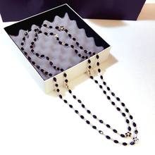 Double Layers Black Crystal Beads Long Necklace Women Bijoux New Fashion Jewelry Fine Gifts For Mother