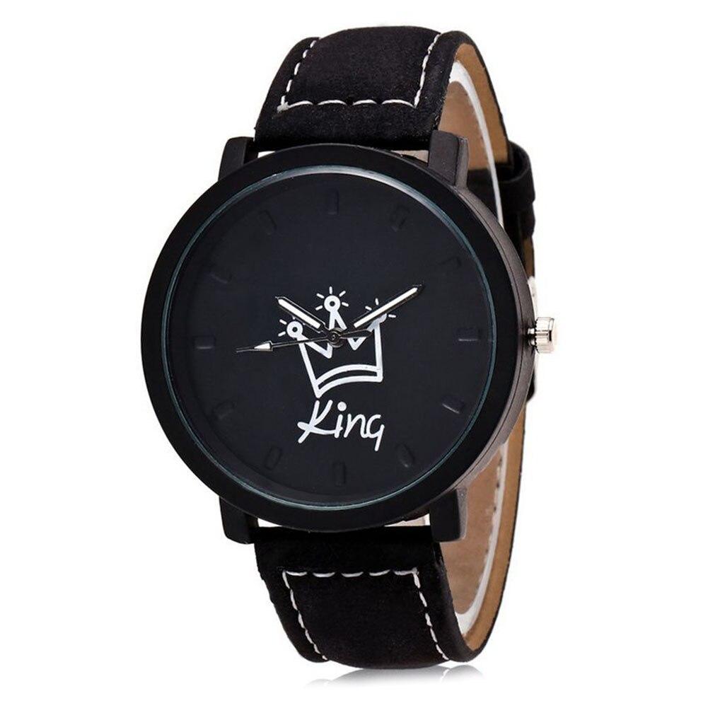 King Queen Leather Watches Women Lovers Quartz Watch Men Brand Luxury Wristwatch Female Male Quartz Lover`s Watches NYZ Shop