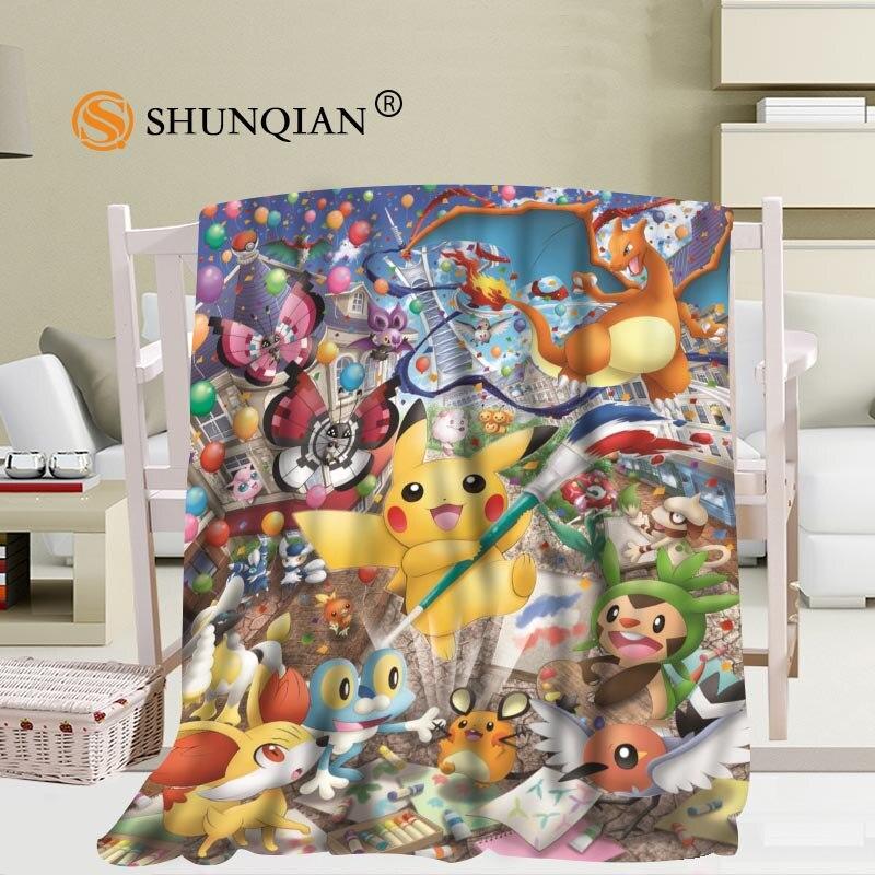 Custom Pokemon Blanket Flannel Falafel Fabric 58x80inch