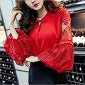 Корейский стиль женщины свободные кружева шифон рубашки моды сексуальные сетки фонарь рукавом v шеи Съемный металлической пряжкой дамы топы E397
