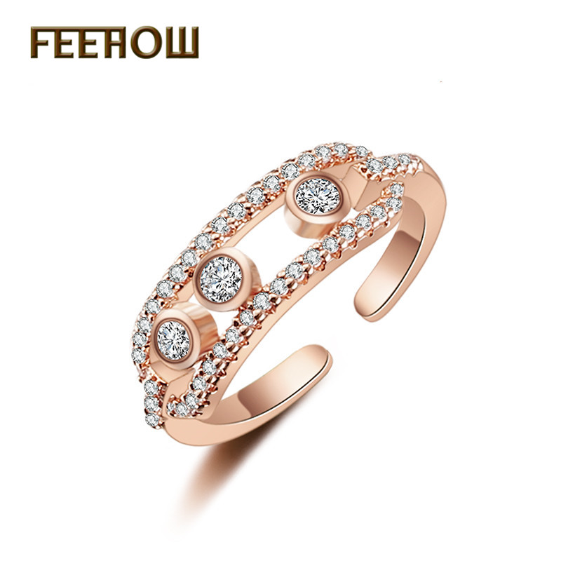 FEEHOW Punk Style Cz Move Stone Pave Open Rings Elegant Hand Made Ring For Women And Man FWRP251