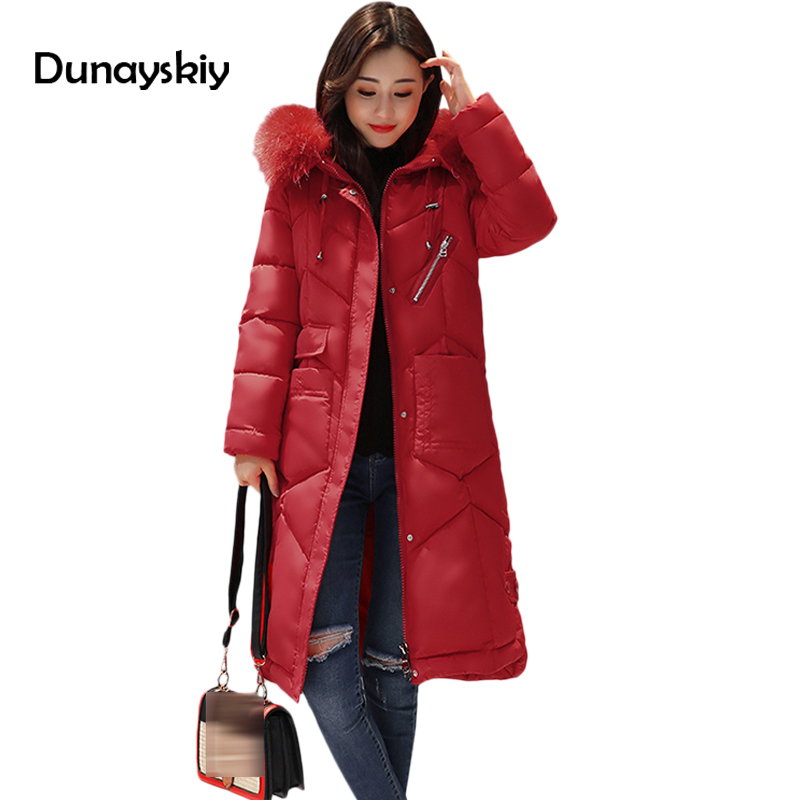 купить New Warm Overcoat Parkas Women X-Long Solid Hooded Thick Winter Coat Woman Slim Office Lady Clothes Korean Fashion Red OverCoats дешево