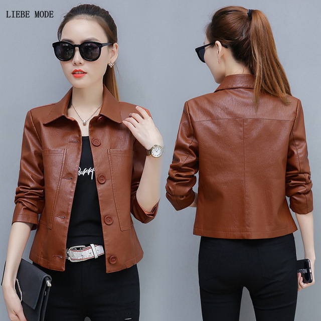 Womens Black Brown Green Motorcycle Biker   Leather   Jacket Women Short Pu Coat Single Breasted Slim Fit Pu   Leather   Jacket 4XL