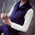 Mens Plaid Vest 2017 Men Fashion Brief Slim Turn-down Collar Fashion Plaid Outerwear Vest Formal Mens Vests