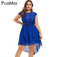 PlusMiss Plus Size 5XL Blue Sexy Lace Mesh Chiffon Evening Party Dresses Big Size XXXXL XXXL Summer Short Sleeve High Low Dress