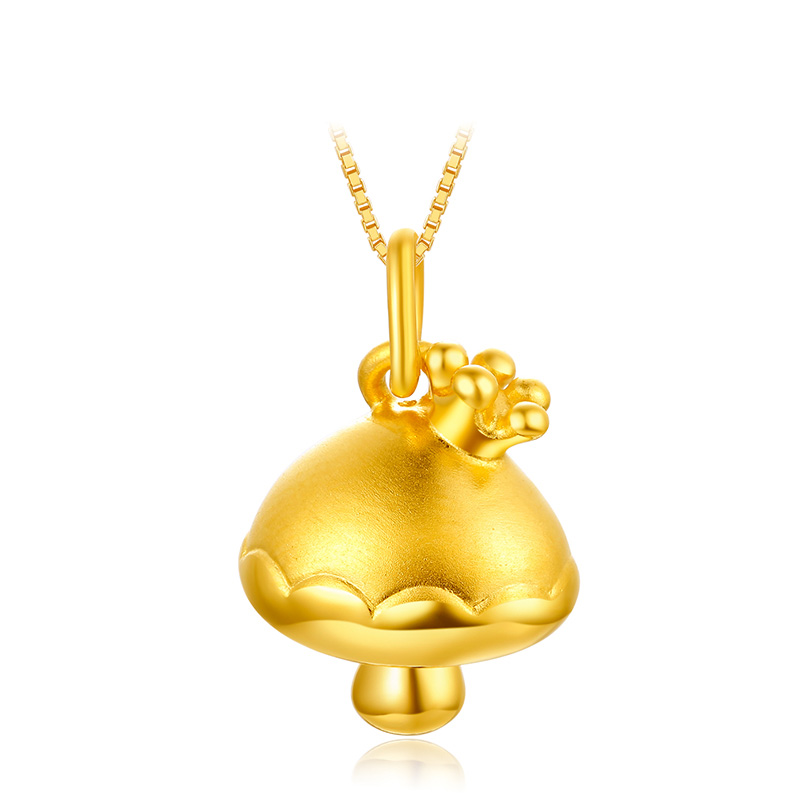 Real 999 24K Solid Yellow Gold Pendant 3D Crown Little Mushroom Pendant Real 999 24K Solid Yellow Gold Pendant 3D Crown Little Mushroom Pendant
