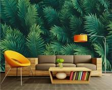 купить  beibehang papel de parede 3D Modern Forest Wallpaper green leaves sofa bedroom living room backdrop wallpaper for walls 3 d по цене 576.41 рублей