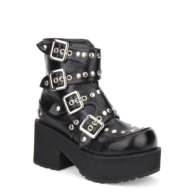 Botas Motocicleta 47 Angelical Lolita 33 Zapatos pl 8 Punk Vestido Impresión Cm Mori Mujer Tacones Princesa Pu Bombas Tobillo Chica Señora Altos tPxBPq