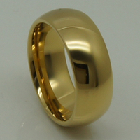 Men Women 8mm Dome Confortable Classic Gold Plating Hi Tech Scratch Proof Wedding Tungsten Ring 1pc