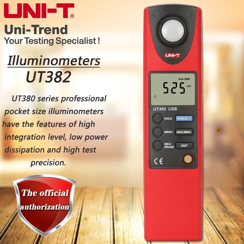 UNI T UT382 illuminometer 20000Lux professional pocket photometer automatic shutdown data storage USB data transmission-in Level Measuring Instruments from Tools    1