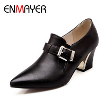 ENMAYER Fashion Women Sexy Woman High Buclkle Strap Square Heel Ankle Boots Spring&Autumn Pointed Toe Pumps Women Shoes BigSize