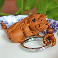 Classic Chinese lucky Wealth Animal 3D Pixiu carving Wood key ring car key pendant woman bag charm accessory keychains