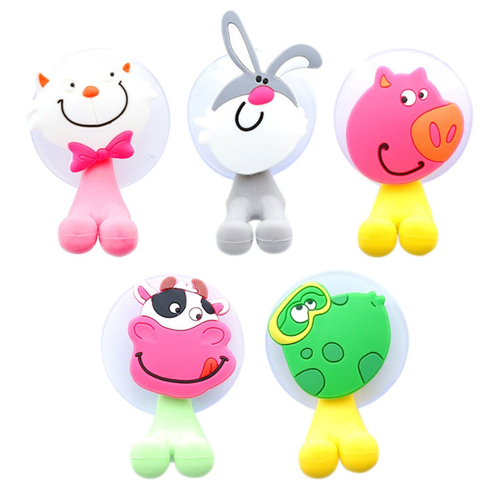 Children Suction Cup Toothbrush Hooks Lovely Kawaii Cartoon Animals Wall Sucker Toothbrush Holder Home Bathroom
