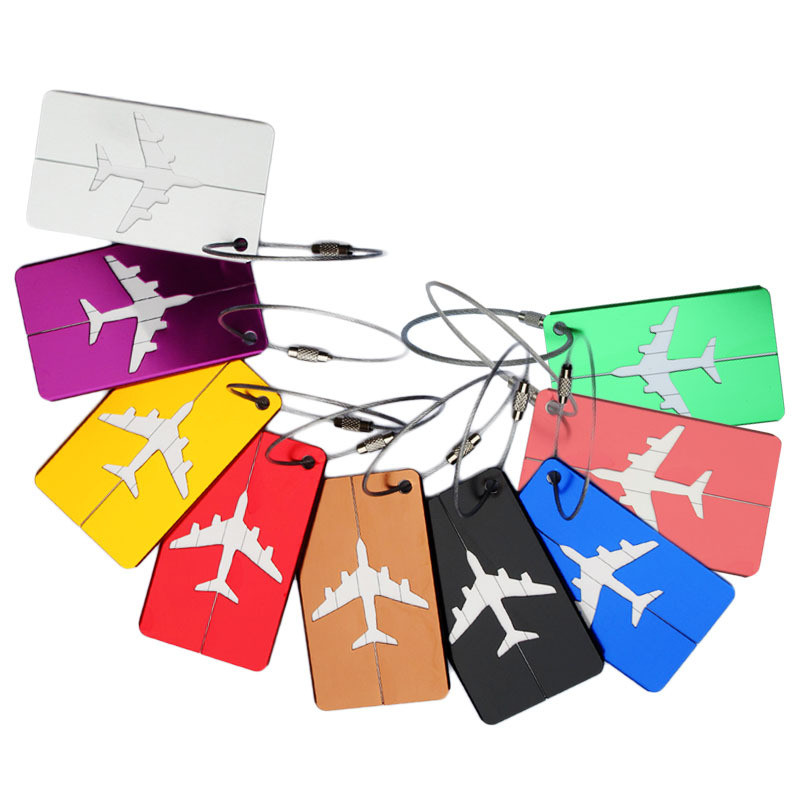 Aluminum Luggage Tag Boarding Flight Baggage Card Fashion Travel Luggage Label Straps Suitcase Luggage Tags Drop Shipping