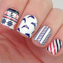 BORN PRETTY BP-W07 Anchor Stripe Nail Art Water Decals Transfer Stickers Nail Art Decorations #20598