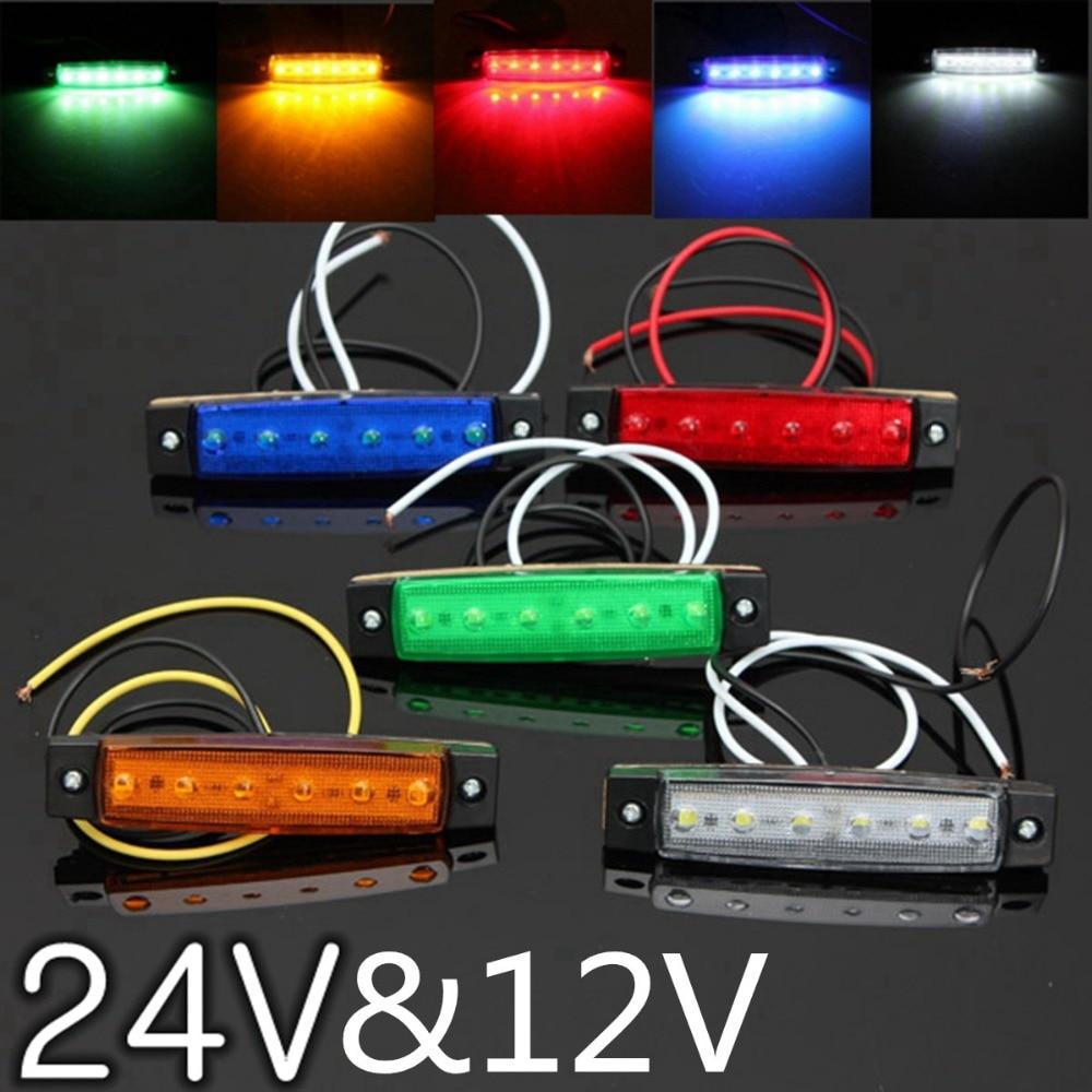 Lumières externes de voiture LED cc 24V 6 SMD LED Auto voiture Bus camion camion indicateur de marqueur latéral lumière basse lumière LED de remorque lampe latérale arrière