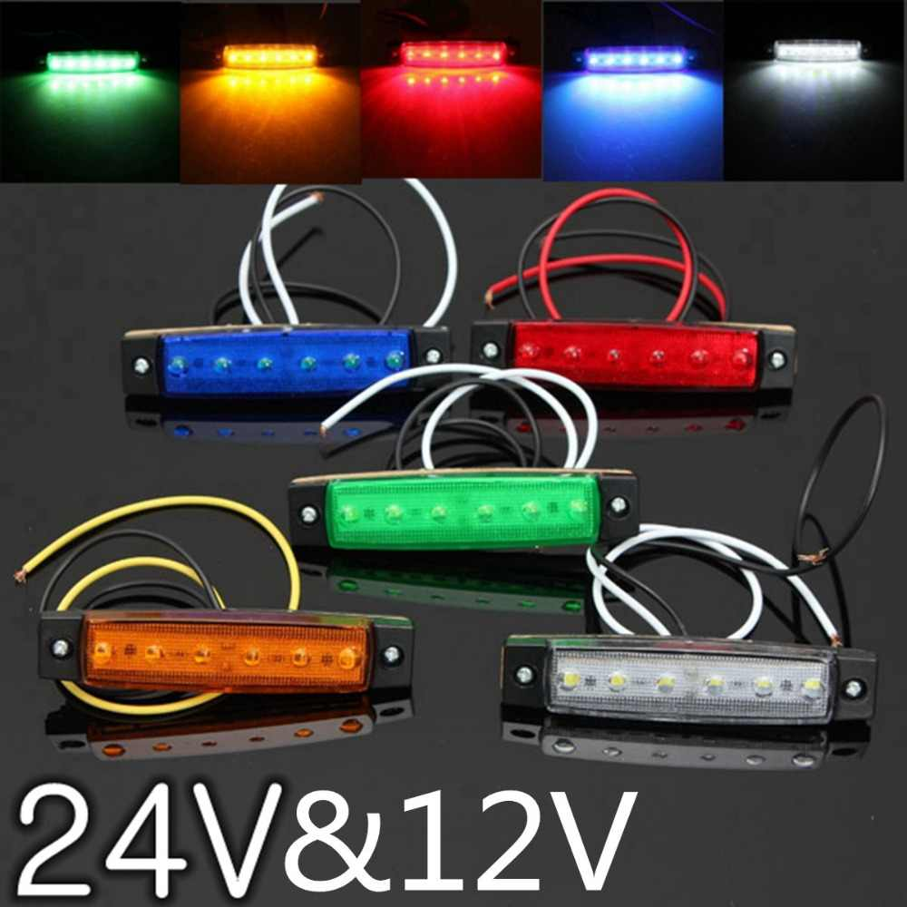 Car External Lights DC LED 24V 6 SMD LED Auto Car Bus Truck Lorry Side Marker Indicator low Led Trailer Light Rear Side Lamp