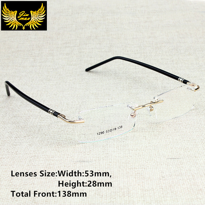 New Arrival Men Style Rimless Eye Glasses Fashion Herre Små størrelse briller Merkedesign Optisk ramme for menn briller