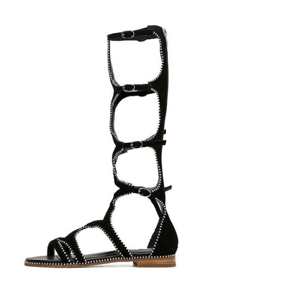 2018 Fashion Rome Style Knee High Sandal Boots for Woman Summer Rivets Studded Buckle Strap Flat Shoes Long Boots Black