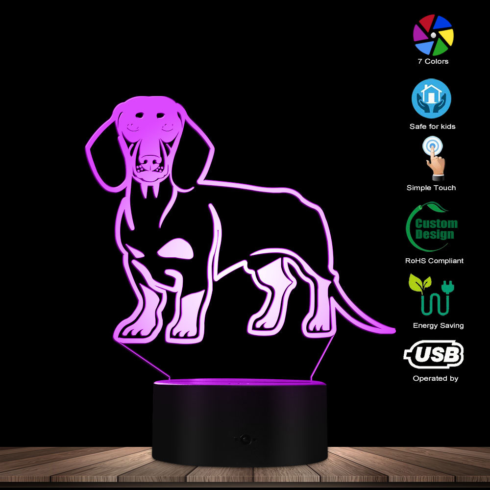 Dachshund Dog LED Optical Illusion Night Light Home Decor Animal Pet Puppy Table Lamp Sausage Dog Wiener-Dog Glowing LED Lamp