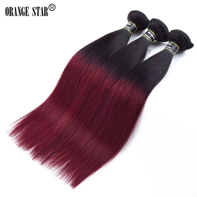Us 830 Ombre Brazilian Straight 3 Bundles Black And Burgundy Hair Weave Ombre Burgundy Brazilian Hair Dark Rot Tissage Bresilienne On