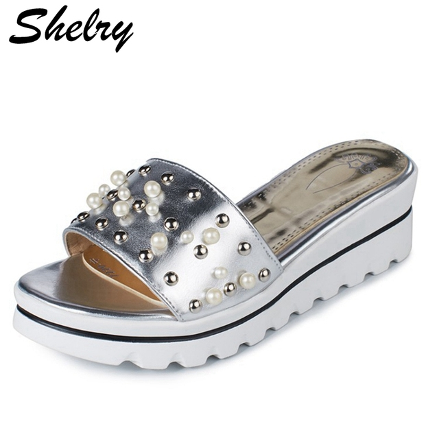 fd2cd261ba4342 gold silver flip flops 2017 new design rivets decoration high platform  sandals women fashion high heels summer shoes