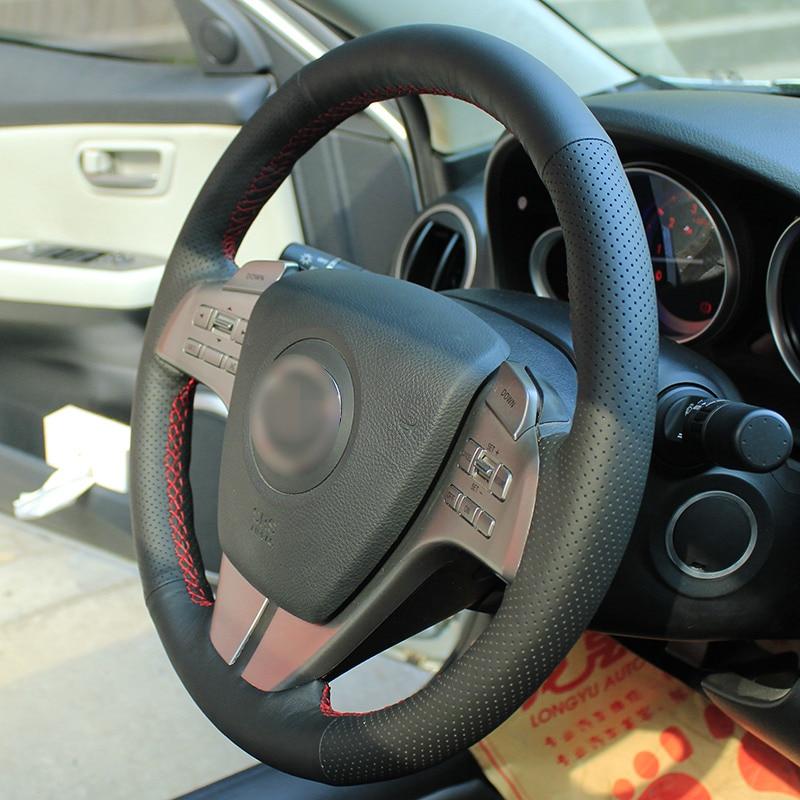 Särav nisu Käsitsi õmmeldud must nahast roolikate vana Mazda 6 - Auto salongi tarvikud - Foto 4