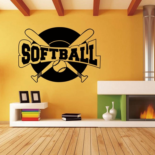 Wall Stickers Home Decor Decoration Maison Softball Wallpaper Decal