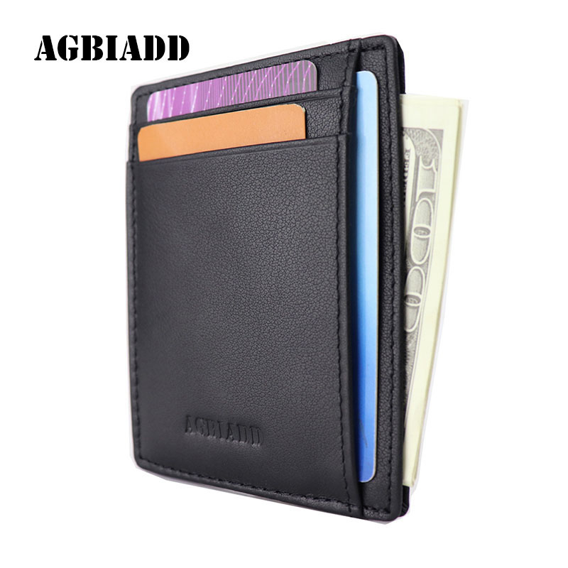 Super Slim Soft Wallet Genuine Leather Mini Credit Card Wallet Purse Card Holders Drop Ship 564-50 Men Wallet Thin Small handy ladies leather minimalist super thin wallet genuine leather slim card holder mini wallet women small handmade female purse