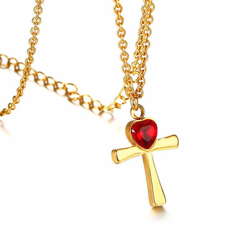 ZORCVENS złoty kolor naszyjnik ze stali nierdzewnej dla kobiet błyszczące CZ kamień krzyż wisiorek naszyjnik Colar Feminino randki biżuteria