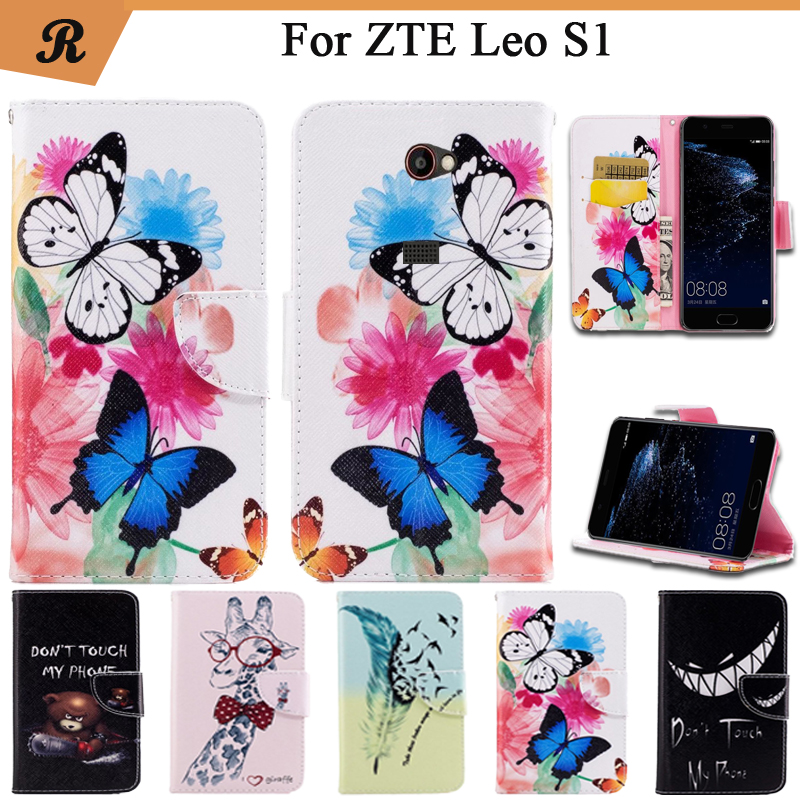 Painted Wallet Flip Case For ZTE Leo S1 PU leather Card Slot Stand bag High Quality Cover fundas with Strap